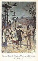 Postcard Samoset Welcomes Pilgrims Mural