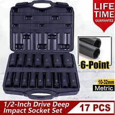 16pc 1/2 Drive Metric Deep Impact Socket Set 10-32mm 6pt Hex Long Reach Sockets