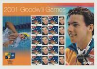 2001 AUSTRALIA GOODWILL GAMES GRANT HACKETT STAMP SHEET MINT MUH PERFECT