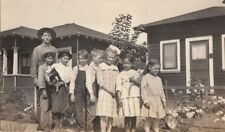 Rppc Postcard Group Children holding Mini Pinscher Dog + Cat c. 1920s