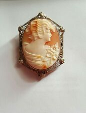 "Antique Shell Cameo Brooch with Sterling Silver Filigree Framed Border 2"" Large"
