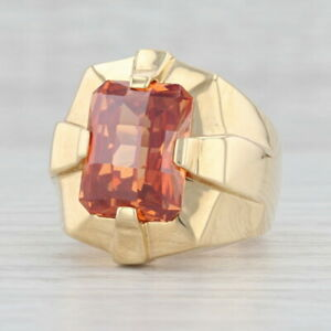Orange Cubic Zirconia Men's Ring 18k Yellow Gold Size 9.25 Solitaire