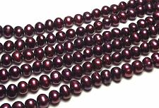 """30"""" FRESHWATER PEARL BEADS 5-6mm Maroon Red /FW1"""