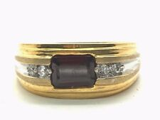 Men's Sterling Silver Gold Two Tone Emerald Cut Red Garnet CZ Groove Band Ring