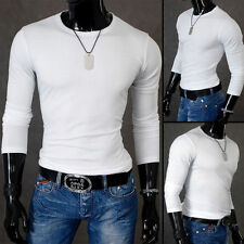 Unbranded Men's Cotton Blend Long Sleeve Crew Neck Casual Shirts & Tops