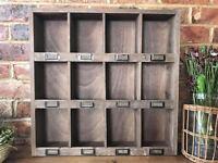 Vintage Shabby Chic Cupboard Cabinet 12 Pigeon Hole Wall Storage Shelf Unit 60cm