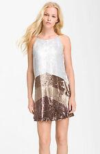 STUNNING Parker Colorblock Gray Brown Sequin Embellished Shift Dress $352+! DEAL