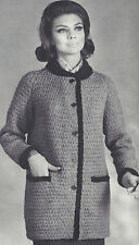 Vintage Knitting PATTERN to make Raglan Car Coat Jacket Pockets RaglanCarCoat