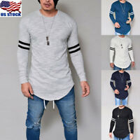 Men's Slim Fit O Neck Long Sleeve Muscle Tee Shirts Casual Irregular Tops Blouse