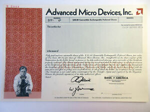 Advanced Micro Devices, Inc., 1988 Odd Shrs Specimen Stock Cert., VF SC-USBN