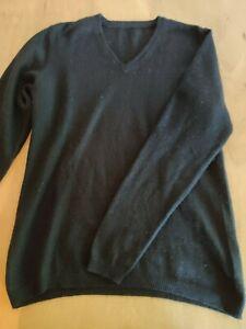 Pullover Pulli schwarz 55% Seide 45% Kaschmir cashmere M 40 V-Ausschnitt