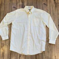 LL Bean Mens L Yellow Stripe Long Sleeve Button Down Wrinkle Resistant Shirt