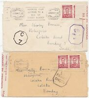 * 1943/4 2 Sth RHODESIA BULAWAYO TO BOMBAY INDIA CENSORS & OPENED BY EXAMINER