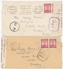 * 1943/4 2 Southern Rhodesia Bulawayo >Bombay India Censors & Opened By Examiner