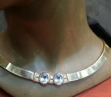 Vintage  Aqua & Diamond 14k Solid Gold Herringbone Choker Necklace Made In ITALY