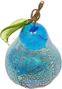 Murano Blown Glass 3'' Pear, Turquoise with Gold, Glass Fruit Made in Italy