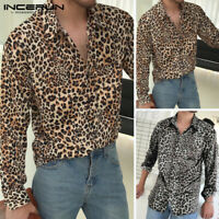 Mens Long Sleeve Leopard Printed Shirts Casual Slim Fit Party Blouse Smart Tops