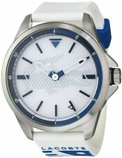 New Lacoste Men's Capbreton Silver Case White Rubber Watch 2010942
