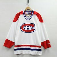 Vintage Montreal Canadiens CCM Hockey Jersey Size Large NHL White Habs