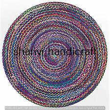 Handmade Bohemian Braided Rag Rug Round 120 CM Home Decor Floor Area Rugs Carpet