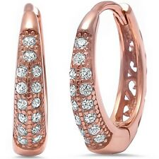 Rose Gold Plated Cz .925 Sterling Silver Hoop Earring