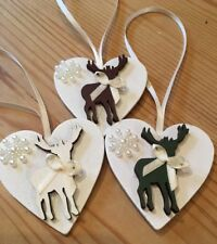 3 X Christmas Decorations Reindeer Shabby Chic Rustic Real Wood Cream Ribbon