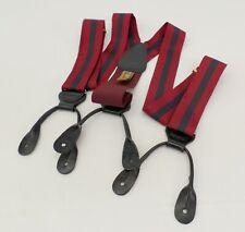 Trafalgar Suspenders Braces Silk Leather Striped Button Burgundy Blue Black
