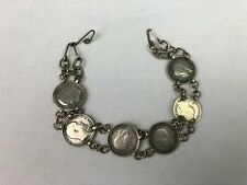 Antique Silver 3 Pence British Coins Bracelet 2 Queen Victoria & 4 King George