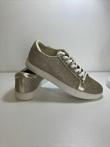 KENNETH COLE Kam metallic light gold glitter leather sneakers shoes, size 8 - 39