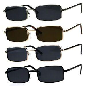 Mens Retro Vintage Narrow Rectangular Pimp Metal Sunglasses