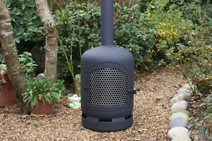 Upcycled Gas bottle log burner, patio heater, Arch grated door