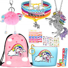 8 pcs Unicorn Gifts for Girls Teen Necklace Bracelet Jewelry Hair Ties Backpack