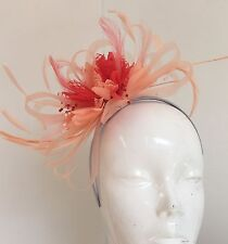 ec740cd5f957e Nude Peach And Coral Pink Fascinator on Headband UK Wedding Ascot Races Loop