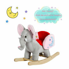 Kids Wood Rocker Elephant Baby Toddler Plush Rocking Horse Toy W/ Sounds