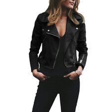 Women's Faux Suede Leather Jacket Flight Coat Zip Up Biker Casual Tops Outwear