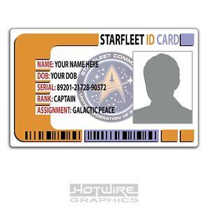 PERSONALISED Printed Novelty ID- Star Trek (STARFLEET) Plastic Pass Card TV Show