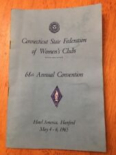 Connecticut Federation Of Women's Clubs 68th Convention 1965 Hartford CT