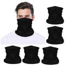 5x Black Tube Scarf Bandana Head Face Neck Gaiter Wear Cover Reusable Breathable