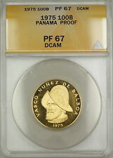 1975 Proof Panama 100B Balboas Gold Coin ANACS PF-67 DCAM