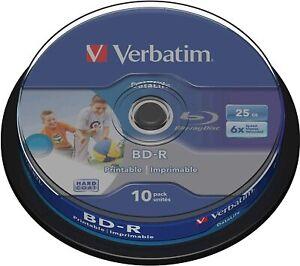 Verbatim BD-R LTH Type Printable Imprimable Blu-ray Discs 25GB 6-Speed (10-pack)
