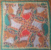 "Striking Vintage OSCAR DE LA RENTA Silk SCARF 34"" Elegant Paisley Pattern Japan"
