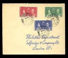 HONG KONG 1937 KG6 CORONATION SET on COVER...VICTORIA DOUBLE RING PMK
