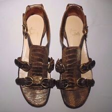 Authentic Christian Louboutin Antique Gold Ostrich flat sandals w. buckles sz 39