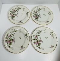 "Set of 4~Apple🍎 Blossom 8"" Salad Plates Syracuse China Gold Trim Swirl Edge USA"