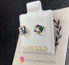 14K Gold Earrings Indigo Cubic Screw Back