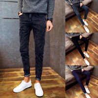 Fall Spring Men's Slim Fit Denim Jogger Pants Trousers Skinny Jeans Pants