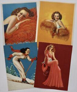 Lot of 4 Vintage 1940s Billy Devorss Pin-Up Lithograph Prints Louis F. Dow Fine