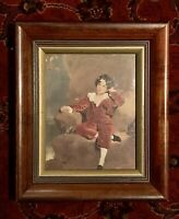 Antique Deep Victorian Walnut Gold Liner Wood Picture Frame 8 X 10 Antique Print