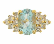 Ladies 10K Yellow Gold Blue Topaz and CZ Fashion Ring