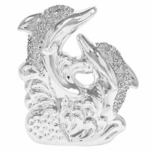 Silver Sparkle Twin Dolphin Ornament Figurine from the Leonardo Collection